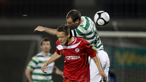 Shamrock Rovers' Dan Murray and Matthew Blinkhorn of Sligo Rovers in action during an entertaining clash at Tallaght Stadium