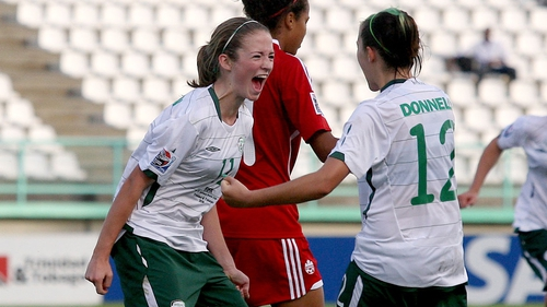 Rahney's Siobhan Killeen (l) in action for Ireland Under-17s
