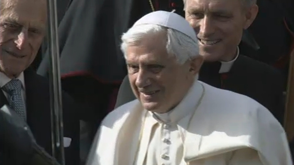 Pope Benedict XVI - Greeted by Prince Philip as he begins state visit in Edinburgh