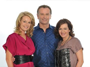 Claire Byrne and Dáithí O Sé with Four Live presenter Maura Derrane