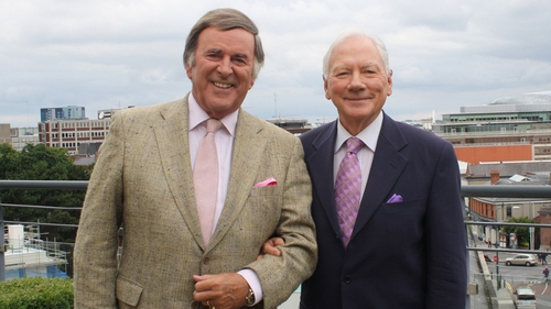 Gay Byrne meets with Terry Wogan for his The Meaning of Life interview in 2014.