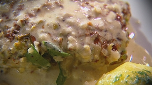 Catherine Fulvio's Pistachio Crusted Fillet of Cod with a Lemon Crème Fraiche Sauce