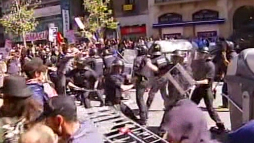 Spain - Clashes between protestors and police