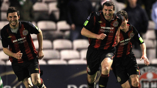 Jason Byrne celebrates a goal that could prove crucial in the title race