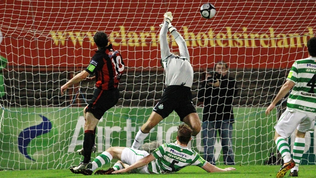 Jason Byrne scores for Bohemians against Rovers in his previous stint at the club