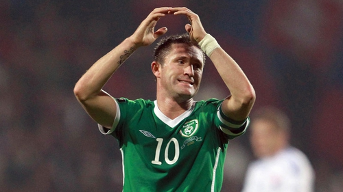 Robbie Keane shows his disgust after missing a first-half penalty against Slovakia in Zilina