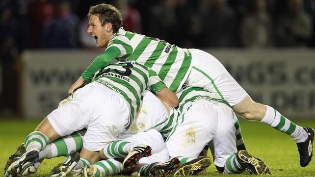 Shamrock Rovers celebrate Chris Turner's winner