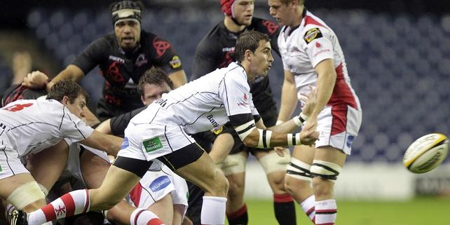 Ulster's Ruan Pienaar offloads the ball at Murrayfield