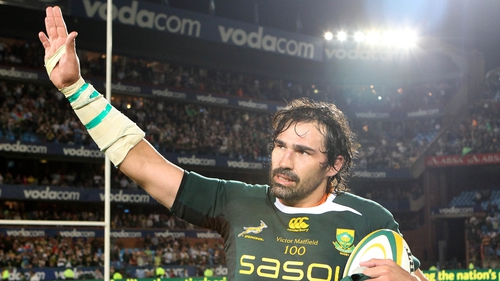 Victor Matfield got one of two South African tries as the Boks came from 17-9 behind at half-time to beat Wales