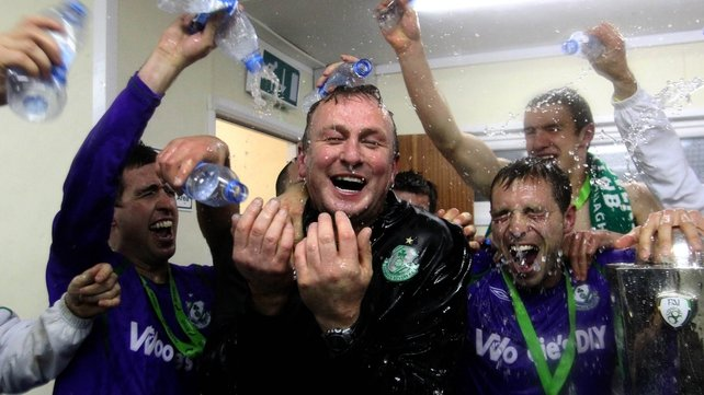 Shamrock Rovers manager Michael O'Neill celebrates with his players