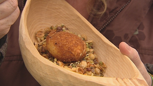 Richard Corrigan's Deep Fried Egg with Chanterelles and Live Sprouts