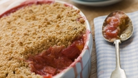 Rhubarb and Orange Crumble Cake - This versatile cake is best served warm as a pudding or cold as a teatime treat. I like it with whipped cream but it would also be good with crème fraiche, clotted cream, vanilla ice cream or custard.