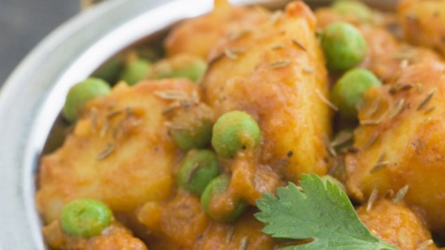 Aloo Tikki with Spiced Peas and Sweet and Sour Yoghurt