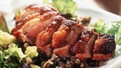 Roast Duck with an Orange and Hoisin Glaze and a Cranberry and Pumpkin Sausage Stuffing