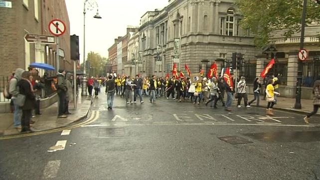 Kildare Street - Violent scenes followed a peaceful USI protest