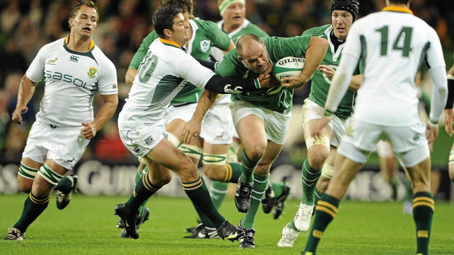 Rory Best carries forward against the Boks at Aviva Stadium