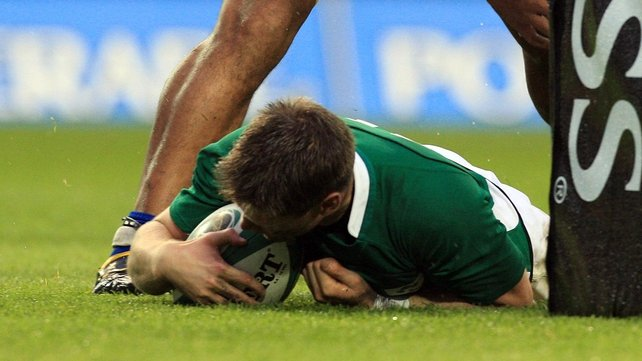 Ronan O'Gara dives over for Ireland's crucial second try against the Pacific Islanders