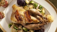 Roast Pheasant, Pancetta Mushroom Stuffing and Marsala Sauce - Serve with cranberry sauce and hasselback roasted potatoes.