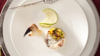 Creamy Crab with Mango Coriander and a Hint of Chilli - Garnish with a piece of lemon or lime and a crab claw.