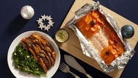 Baked Salmon with Lime Butter Sauce - With Glazed Carrots, Purple Sprouting Broccoli, Roast Sweet Potatoes