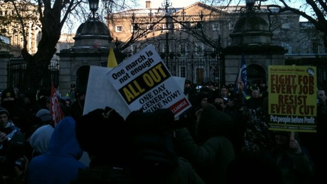 Groups gather at Leinster House - To let their views be known