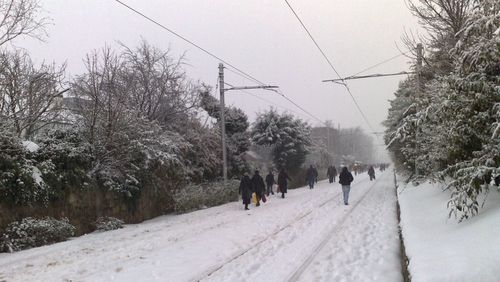 Dublin - LUAS passengers walking on tracks during suspension of services (Pic: Michael Tierney)