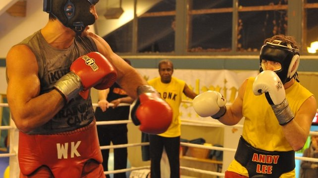 Limerick middleweight Andy Lee has spent his professional career at the Kronk Gym under the tutelage of Emanuel Steward - Lee pictured here sparring with Wladimir Klitschko with Steward looking on