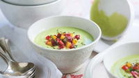 Chilled Avocado Soup with Red and Yellow Pepper and Coriander Salsa - The vivid colours of this soup make it a perfect dish for a dazzling dinner party.