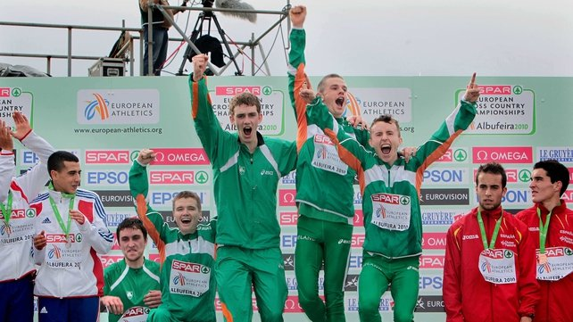 The Irish Men's U23 team celebrate their win