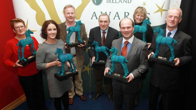 Some of the winners at the 2010 Irish Horse Racing Awards showing off their trophies