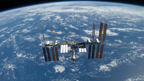 The ISS usually orbits roughly 420km above the Earth