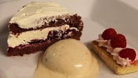 Assiette of Boozy Retro Desserts - To serve, place the raspberry shortbread to one side of a long plate, a scoop of the rum and raisin ice cream in the middle and your mini blackforest gateaux on the other side.