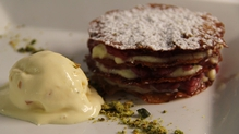 Rhubarb and Custard Mille Feuille with Candied Ginger and Mascarpone Ice Cream and Candied Pistachi