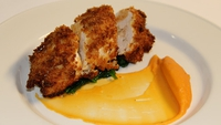 Crabmeat Stuffed Chicken with Lobster and Brandy Sauce - There's plenty to do, but it's worth it in the end. Served with Wilted Spinach and Sweet Potato Purée