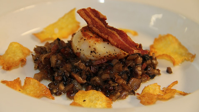 Pan Seared Scallops on a Bed of Nutty Herb Mushroom and Crisp Pancetta