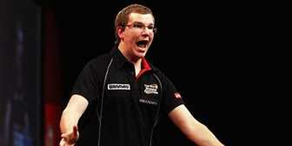 Mark Webster shows his delight after seeing off Phil Taylor
