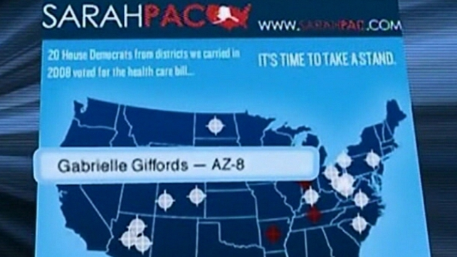 Sarah Palin - Removed graphic of electoral targets marked by the cross hairs of a rifle sight from her website