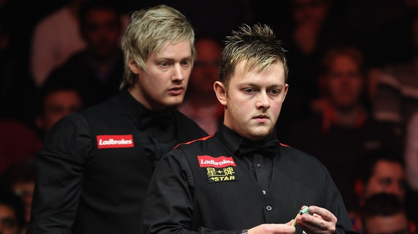 Mark Allen (front) had to fight hard for victory
