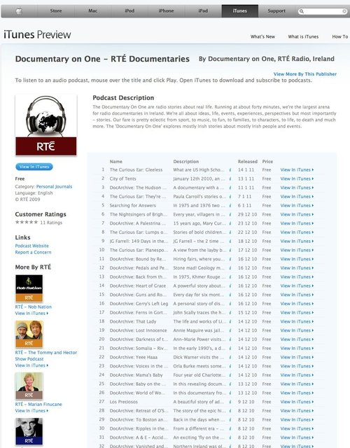 Our podcast itunes store