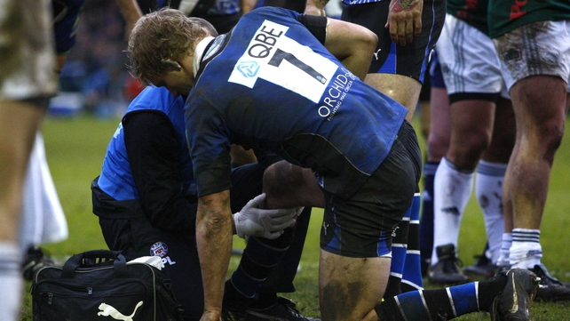 Lewis Moody received on-pitch treatment for his knee against Aironi, before being helped from the pitch