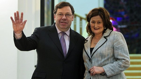 Brian and Mary Cowen - Taoiseach poses outside Government Buildings after winning crucial party vote