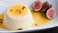 Pineapple Carpaccio - In a Passion Fruit and Chilli Marinade with Low Fat Vanilla Panna Cotta. This amazingly low fat dessert satisfies a sweet tooth while being healthy!