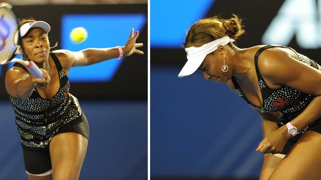 Venus Williams hitting a forehand (l) and doubled over in pain (r)
