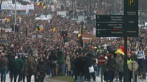 Belgian protestors -Are angry over the 7 month political impasse
