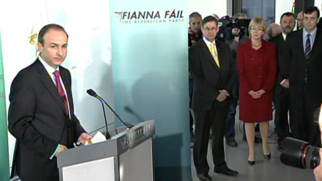 Micheál Martin - The new Fianna Fáil leader speaks to reporters as the defeated candidates look on
