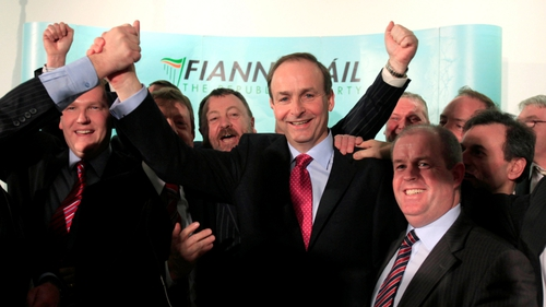 Micheál Martin - Supporters celebrate his election as leader of Fianna Fáil