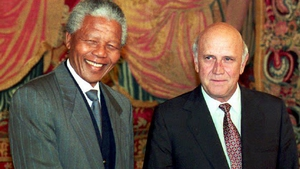Nelson Mandela and South African President Frederik de Klerk shake hands in Oslo in December 1993, on the eve of jointly receiving the Nobel Peace prize