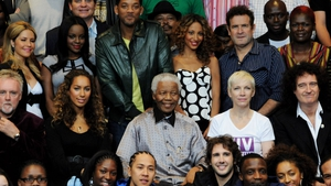 Actors and singers join Nelson Mandela at the InterContinental Hotel, Park Lane, in advance of a concert being held at Hyde Park to celebrate Mr Mandela's 90th birthday in 2008