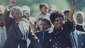 Nelson Mandela and wife Winnie raising fists upon his release from Victor Verster prison in February 1990 after 27 years