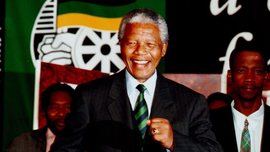 President Nelson Mandela celebrates his historic election win at the ANC victory party on 2 May 1994 at Carlton Hotel in Johannesburg